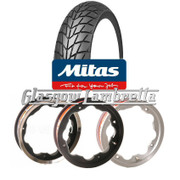 Set of 3 x  MC20 350 x 10 Tyres Fitted to S.I.P. Lambretta Tubeless Rims