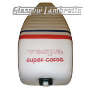 Vespa & LML  Repro/Copy GIULIARI SUPER CORSA SEAT in WHITE, RED & BLUE