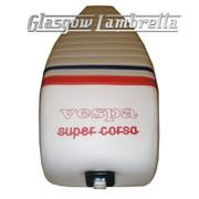 Vespa & LML  Repro/Copy GIULIARI SUPER CORSA SEAT in WHITE, RED & BLUE