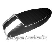 Vespa & LML  ANCILLOTTI STYLE SLOPE BACK RACE SEAT  in BLACK & WHITE