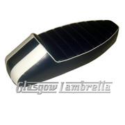 Vespa & LML  ANCILLOTTI STYLE SLOPE BACK RACE SEAT in DARK BLUE & WHITE