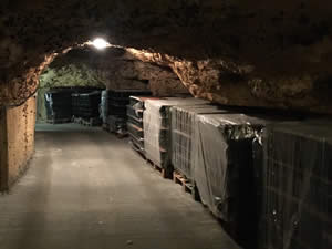 We took the wine to underground cellars 5 miles away