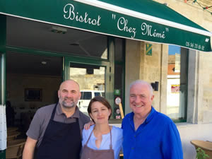 Rick with the owners of Chez Mémé in St-Julien