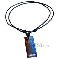 Adjustable leather necklace with Rectangular Brown/Blue Glass Block Pendant