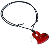 Black leather red glass heart  pendant adjustable leather necklace
