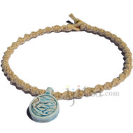 Natural thick twisted hemp necklace with ruka ceramic Shark pendant