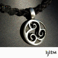 Soft Black Hemp Chain Choker/Necklace and pewter Round triple spiral  pendant