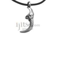 Adjustable leather necklace with stainless steel Jagged Dagger pendant