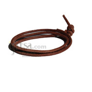 Suede 3mm red brown leather adjustable surf wrap bracelet