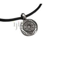 Adjustable leather cord pewter greek key pendant