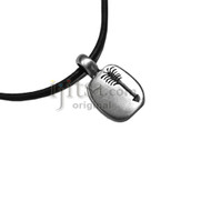 Adjustable leather cord necklace pewter rectangle with Arrow pendant