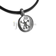 Adjustable leather cord pewter Oval with Gecko pendant