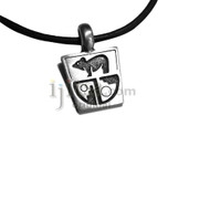 Adjustable leather cord necklace pewter Trapezoid with bear and shape designs
