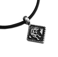 Adjustable leather cord necklace pewter diamond with Kokopelli pendant