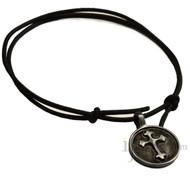 Adjustable leather cord necklace pewter Cross in circle pendant