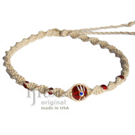 Natural twisted hemp red eye glass bead choker necklace
