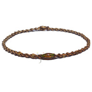 Dark brown and golden brown rainbow twisted hemp necklace with oval amber glass beads