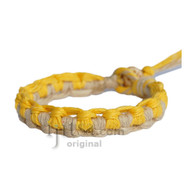 Natural and yellow hemp Interlocked bracelet or anklet