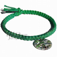 Green rainbow flat wide hemp necklace with green Murano glass Peace