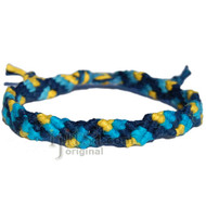 Dark blue, blue rainbow and yellow hemp Snake bracelet or anklet