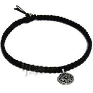 Black flat Hemp Wide Necklace, Celtic Circle pendant