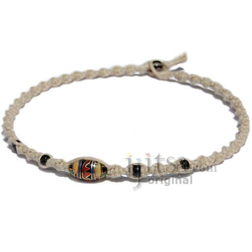 Natural twisted hemp red eye glass bead choker necklace
