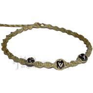 Olive rainbow twisted hemp black bone beads choker necklace