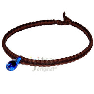 Light brown and dark brown wide flat hemp necklace with large blue glass mushroom