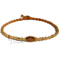 Golden brown twisted hemp necklace with oval amber, gold glass beads