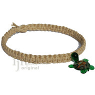 Natural thick flat wide hemp necklace with green glass Turtle