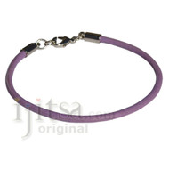 3mm round lilac leather bracelet or anklet, metal clasp
