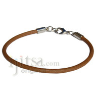 3mm round light brown matte leather bracelet or anklet with metal clasp
