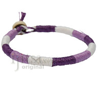 Leather Bracelet or anklet wrapped with Purple, Lilac and White hemp