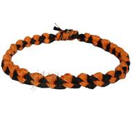 Wide Black and Pumpkin Hemp Chain Surfer Style Choker Necklace