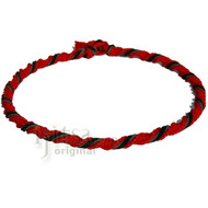 Red twisted hemp necklace with black suede leather