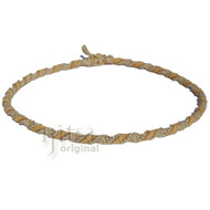 Natural twisted hemp necklace with natural suede leather
