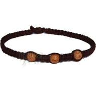 Dark brown wide flat hemp necklace with three palm wood beads