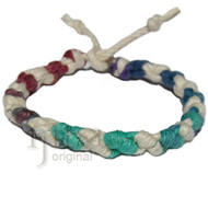 Muted rainbow and white hemp Dots bracelet or anklet