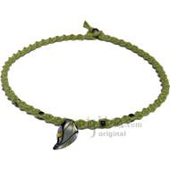 Black/Silver Leaf Glass Pendant Twisted Hemp Surfer Choker Necklace