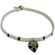 White flat hemp necklace with Black/Green and White Flower Glass Pendant