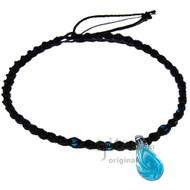 Clear Blue Swirl Glass Teardrop Pendant Twisted Hemp Surfer Choker Necklace