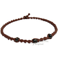 Light Brown Twisted Hemp Black Bone Beads Necklace
