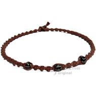 Light Brown Twisted Hemp Black Bone Beads Necklace