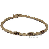 Thick Natural Twisted Hemp Brown Bone Beads Necklace
