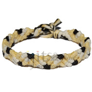 Dijon, pearl and licorice hemp Snake bracelet or anklet