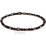 Dark brown twisted hemp necklace with white bone beads throughout