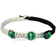 Black and white rainbow flat wide hemp necklace with large green glass beads