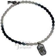 Black and white rainbow twisted hemp necklace with Scorpio Zodiac Sign