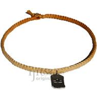 Golden brown flat hemp necklace with Libra Zodiac Sign