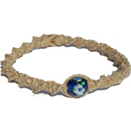 Natural thick wide twisted hemp necklace blue with white flowers glass bead